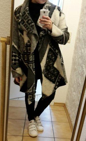 ASOS Filzmantel Mantel Jacke Vintage Schwarz Weiß
