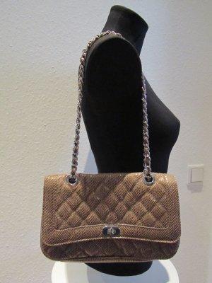 ASOS Flap Bag Tasche mit Kettenhenkeln braun beige Animal Schlangen Print