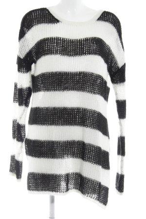 Asos Pullover all'uncinetto nero-bianco motivo a righe stile casual