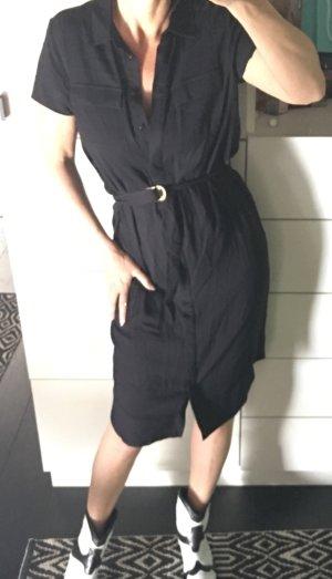 Asos Hemdblusenkleid Blusenkleid hemdkleid schwarz mit überlangem D Ring Gürtel zara neu