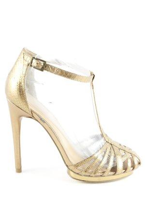 Asos High Heels goldfarben Animalmuster Party-Look