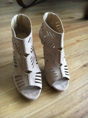 Asos high heels peeptoe beige cutout 37 4