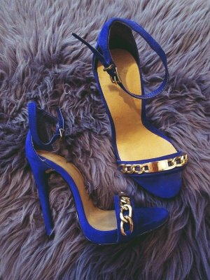 Asos High Heels Sandaletten Gliederkette Blue Wildleder 36