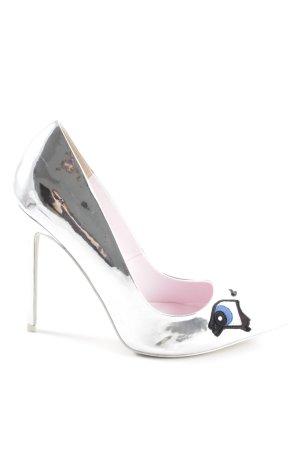 Asos High Heels silberfarben extravaganter Stil