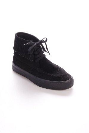 Asos High Top Sneaker schwarz Fransenbesatz