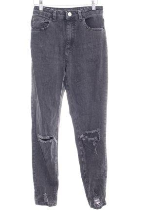 Asos High Waist Jeans dunkelgrau Casual-Look