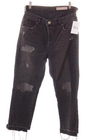 Asos High Waist Jeans dunkelgrau Destroy-Optik