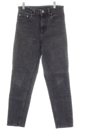 Asos High Waist Jeans grau-schwarz meliert Casual-Look