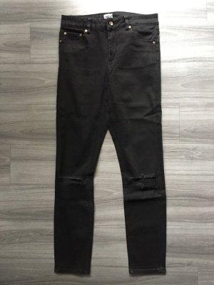 Asos Denim Hoge taille jeans antraciet-zwart