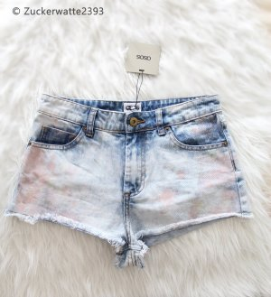 Asos Denim High-Waist-Shorts azure-neon pink