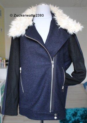 Asos Giacca di lana blu scuro-bianco sporco Lana