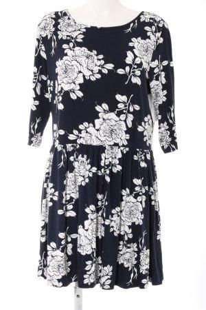 Asos Jersey Dress black-white flower pattern casual look