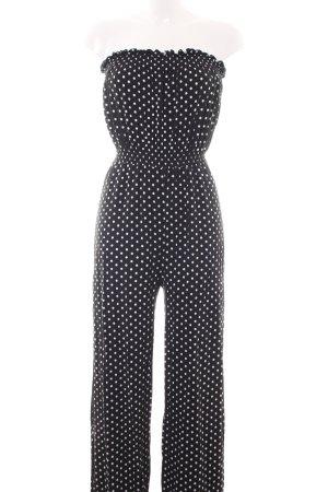 Asos Jumpsuit schwarz-weiß Punktemuster Business-Look