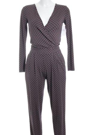 Asos Jumpsuit schwarz-bordeauxrot abstraktes Muster Casual-Look
