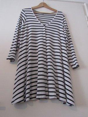 Asos Robe trapèze blanc-noir viscose