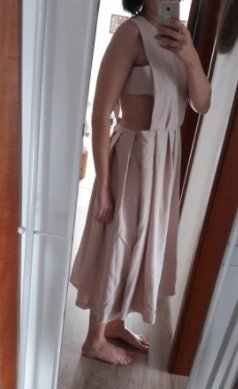 Asos Kleid Cutouts Latzkleid Midi Midikleid Nude Sexy Rückenfrei