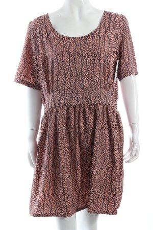 Asos Kleid dunkelblau-lachs abstraktes Muster klassischer Stil