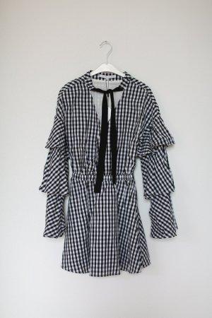 Asos Kleid Mini Dress kariert schwarz weiß Vintage Look neu mit Etikett Gr. XS