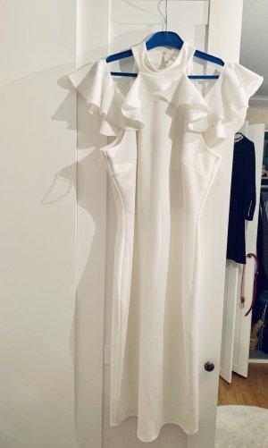 Asos Kleid mit Rüschen Volant weiß Bleistiftkleid