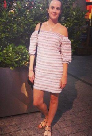 Asos Kleid Schulterfrei Offshoulder Carmen Streifen Bardot gestreift Minikleid