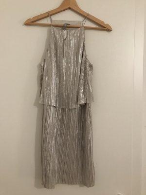 ASOS Kleid Silber Plissee