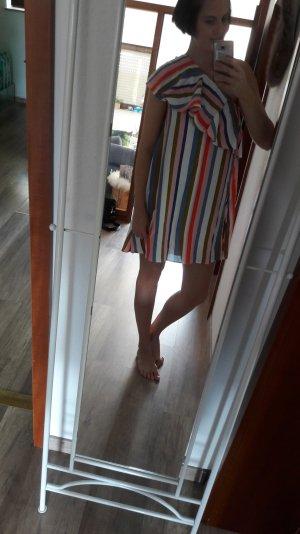 Asos Kleid Streifen Oneshoulder Offshoulder Volant Carmen Bardot