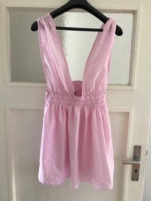 Asos Kleid Vichy Karo kariert rosa weiß weiter Ausschnitt