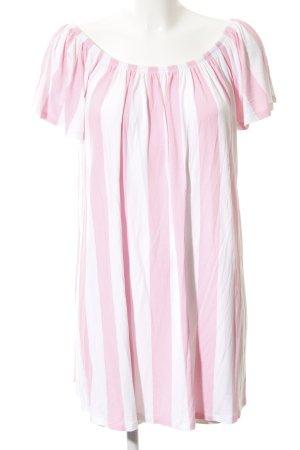 Asos Abito a maniche corte rosa-bianco motivo a righe stile casual