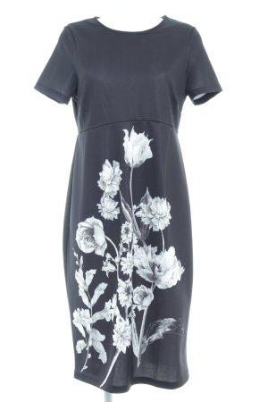 Asos Kurzarmkleid schwarz-weiß Blumenmuster Casual-Look