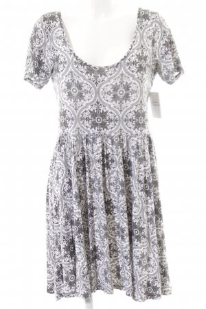 Asos Kurzarmkleid schwarz-weiß Ornamentenmuster Casual-Look