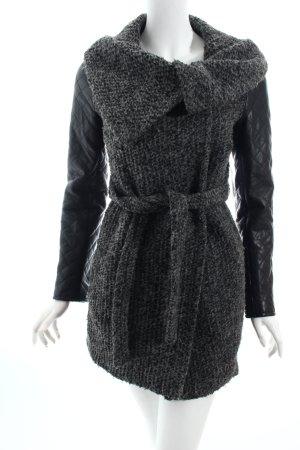 Asos Kurzmantel schwarz-grau Materialmix-Look