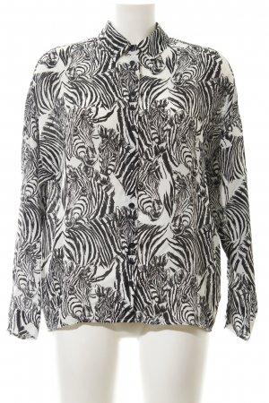 Asos Langarm-Bluse schwarz-weiß Animalmuster Animal-Look