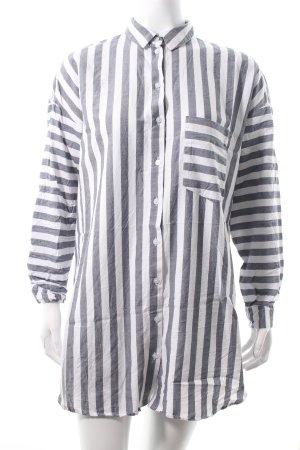 Asos Langarmhemd dunkelblau-weiß Streifenmuster Boyfriend-Look