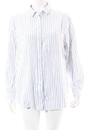 Asos Langarmhemd weiß-himmelblau Streifenmuster Casual-Look