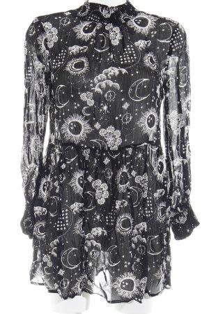 Asos Robe à manches longues noir-blanc imprimé allover style festif