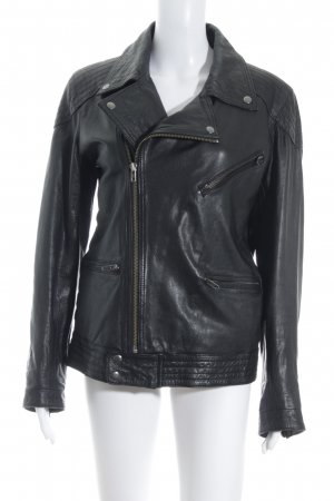 Asos Leather Jacket black-silver-colored biker look