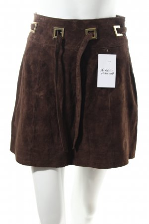 Asos Falda de cuero marrón oscuro look retro
