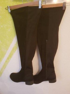 Asos London Rebel flache Overknee Stiefel  schwarz Gr  40