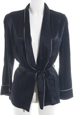 Asos Blazer long bleu foncé-blanc style classique