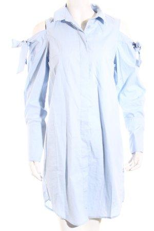Asos Long-Bluse himmelblau Schriftzug gestickt Casual-Look