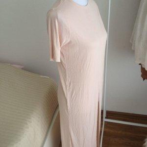 ASOS Long Top Tshirt Nude Rosa 34 Tall Schlitz Lang Neu mit Etikett Blogger