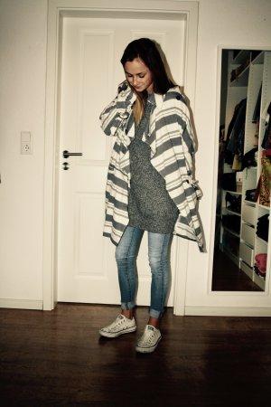 ASOS Mantel Trenchcoat Blau Weiß gestreift 34 XS Blogger