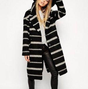 Asos Mantel Wollmantel schwarz weiß gestreift Winter 36