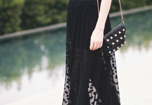 Asos Maxirock schwarz Punktemuster extravaganter Stil