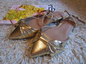 Asos Metallic Ballerinas 37 Wide Fit Gold