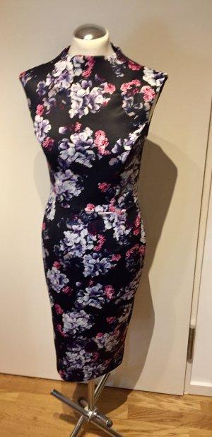 Asos: Midi Kleid figurbetont mit Blumenmuster Blau Gr. 38 NEU