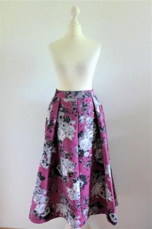 Asos Midi Rock Edel Falten Blumen pink magenta schwarz weiß grau Gr. 34 XS