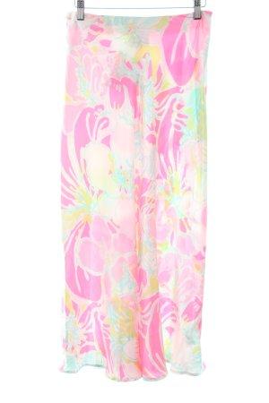 Asos Midirock neonpink-wiesengrün Blumenmuster extravaganter Stil