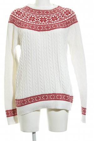 Asos Norwegian Sweater natural white-brick red abstract pattern casual look