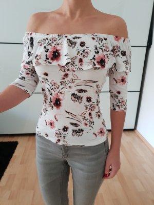 Asos Offshoulder Top XXS XS 32 34 weiß Volant Rüschen Blumen Shirt Oberteil Tunika Top